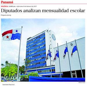 La Estrella de Panamá: Diputados analizan mensualidad escolar